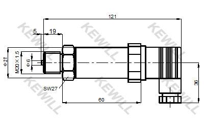 KAP10系列通用压力变送器尺寸图